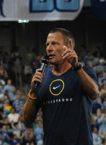 Lance Armstrong addresses the crowd at the grand opening of LIVESTRONG Sporting Park in Kansas City in June 2011. Photo by Chris Wristen