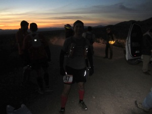 At the starting line, a few minutes before sunrise.