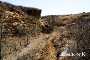 The bluffs and sandy horse trails make for some rough maneuvering in the Smoky Hills of Kansas at Rockin' K.