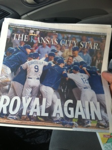 This morning's Kansas City Star front page after the Royals earned their first playoff berth in 29 years.