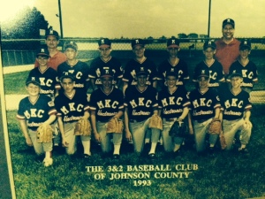 1993 MKC Electronics baseball team; Johnson County 3&2; seventh grade. Charlie is at the far left in the front row.