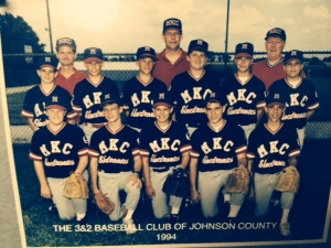 1994 MKC Electronics baseball team; Johnson County 3&2; eighth grade. The final season of summer baseball. Charlie is third from the right in the second row.