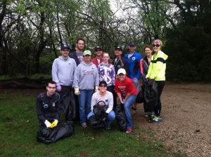 A portion of the Lawrence Trail Hawks gather before picking up trash on the trails.