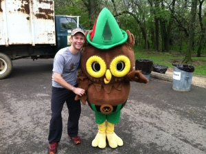 Hanging with Woody after the cleanup.