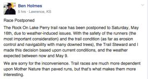 Lake Perry postponement announcement