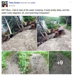 Part of the Blue Trail has collapsed. Photos by Tesa Green.