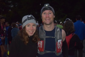 Alex and I at the starting line of the Vermont 50.