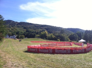 The Vermont 50 finish chute, seen the day before the race. It's a long drop down the mountain to the finish.