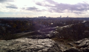 The view of the Boston skyline from the lookout point next to Wright's Tower on the Skyline Trail at the Middlesex Fells.