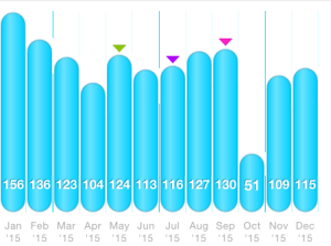 Monthly mileage chart from DailyMile.